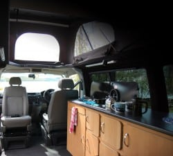 Campervan Hire Scotland - Interior Kitchen
