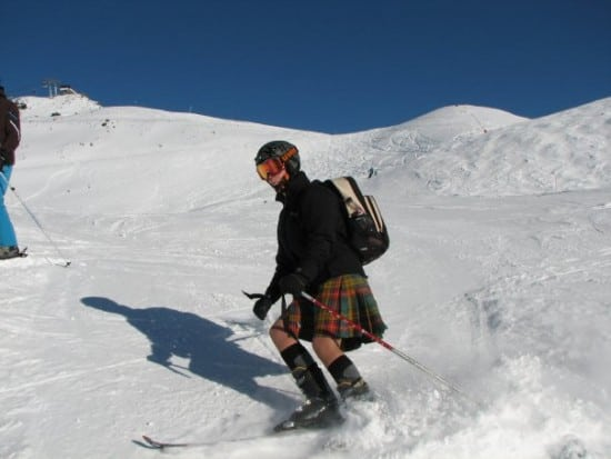 Kilted and skiing!
