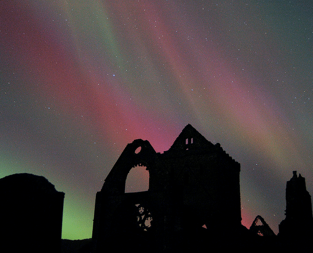 Fabulous lights at Sweetheart Abbey in the Borders. Pic credit: Mike Bolam