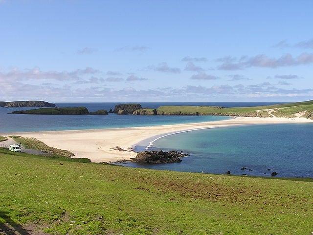 St Ninian's tombolo, Shetland. Pic credit: Stuart Wilding .