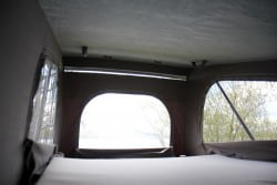 Inside the pop-top roof bed